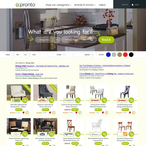 Design a friendly comparison shopping landing page for Pronto