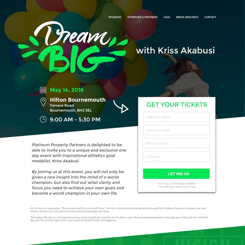 Dream BIG - Landing Page Design
