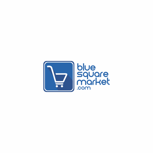 Create a captive logo for an online shopping site called Blue Square Market