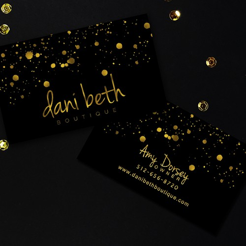 Fashion black & gold business card for Dani Beth boutique