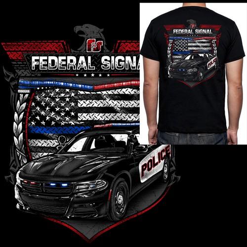 Grunge style police market t-shirt