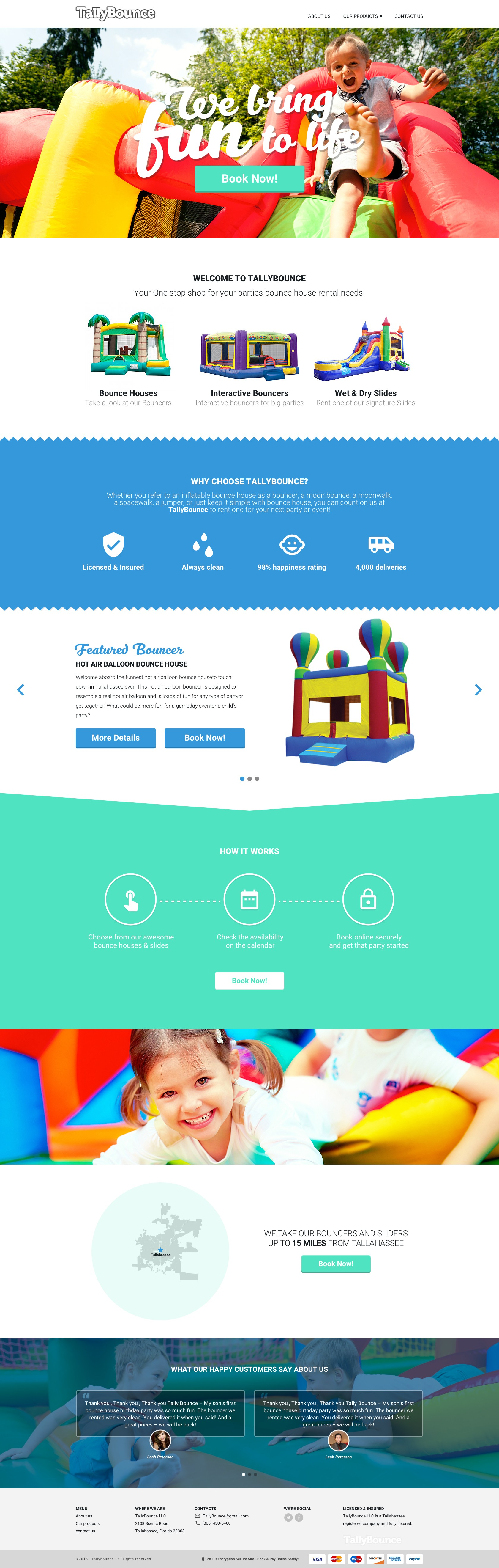 Bounce house business website