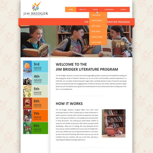 Design the winning home page for a new website marketing children's literature curriculum.
