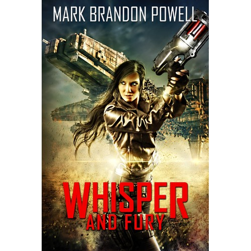 Create a Space Western eBook cover for Whisper & Fury