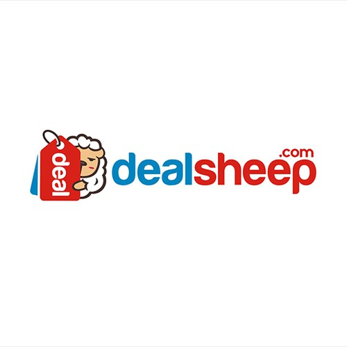 Clean and fresh logo for a deal website: Hot deals + cheeky sheep!