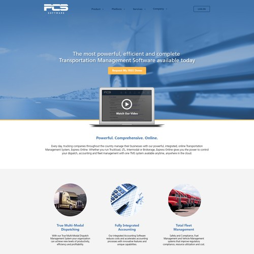 Website design for trucking software