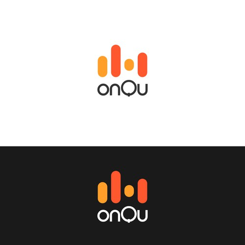 Bold and geeky logo for onQu