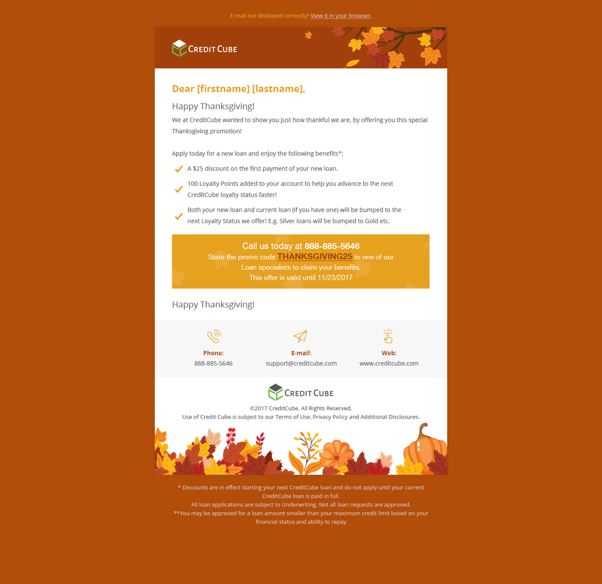 Thanksgiving promotion email