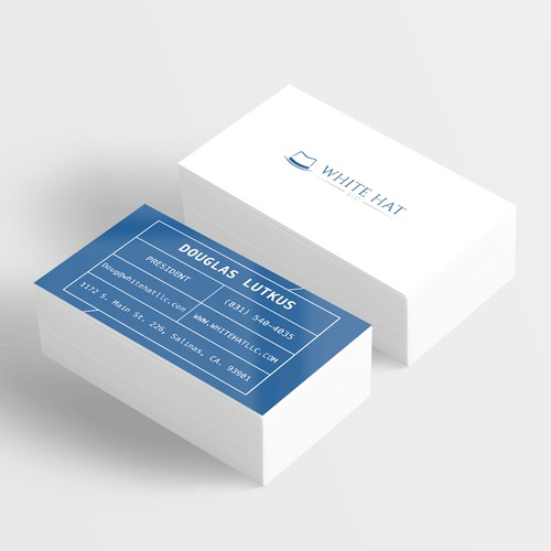 Simple business card for White Hat Attorneys and Investment Advisers.
