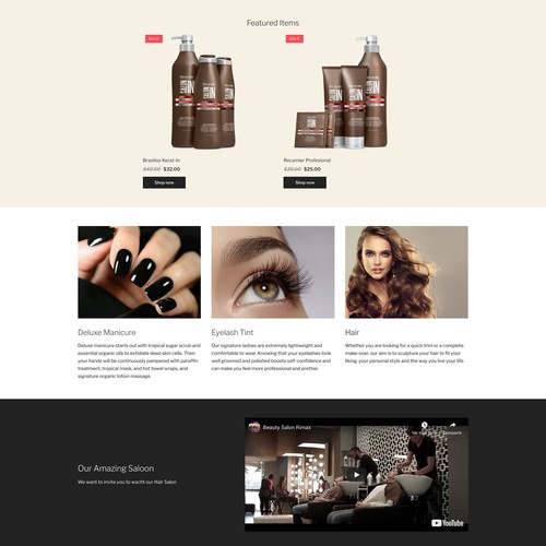 Hair salon ecommerce website