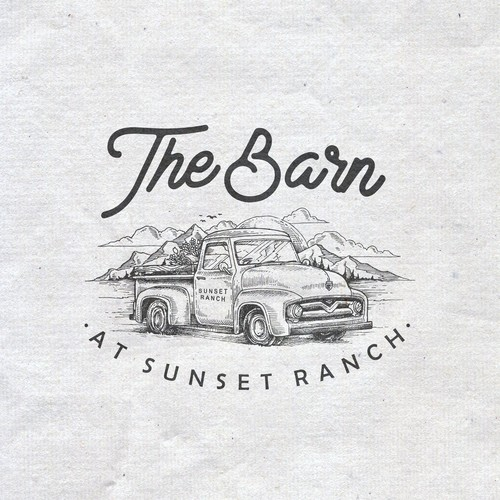 Vintage engraved drawing logo for The Barn