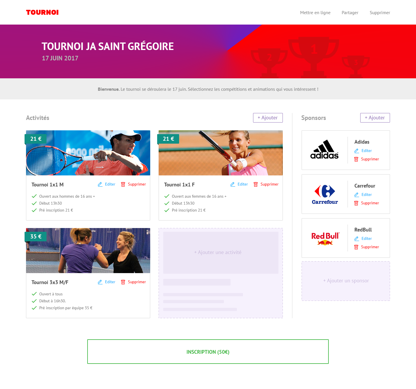 Create web page to collect registrations to sports tournaments with multiple activities