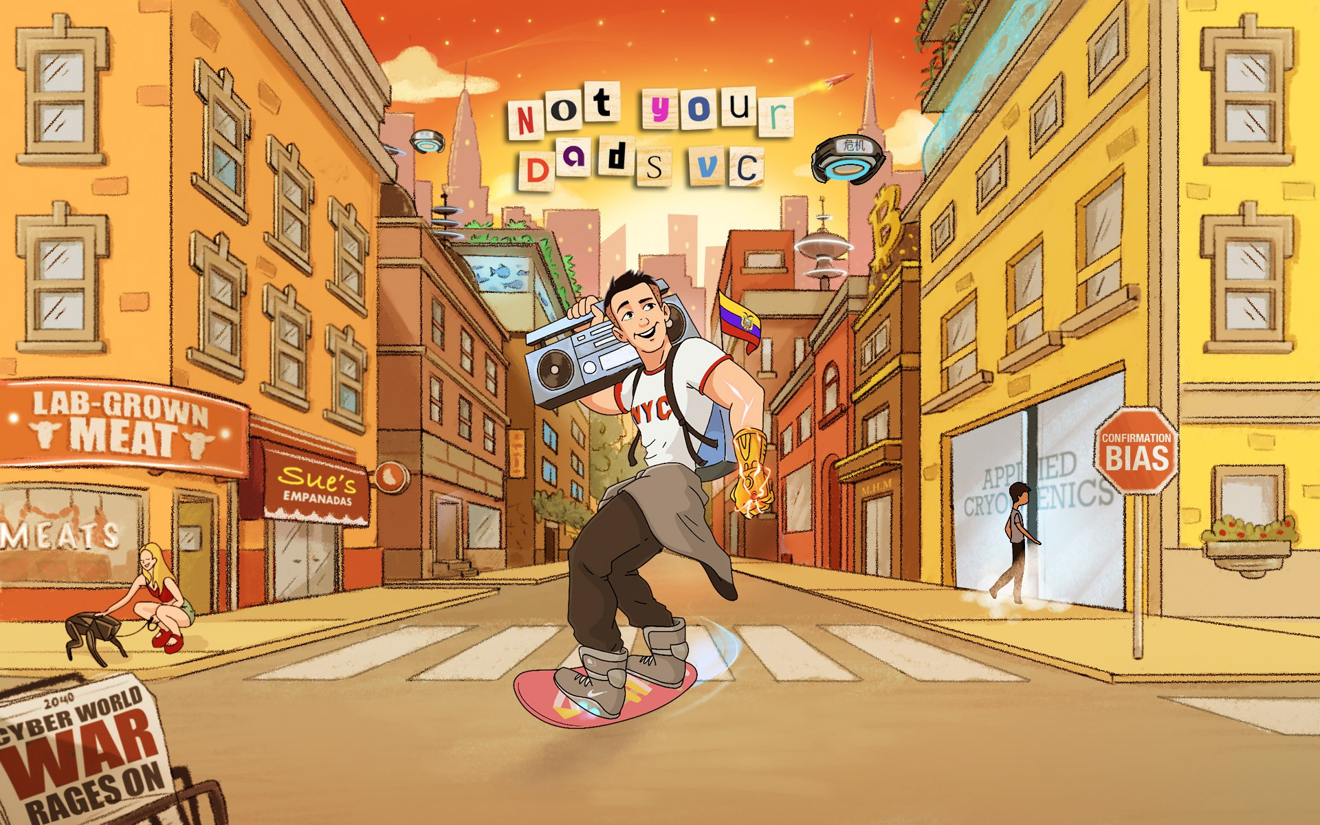 Hip Cartoon NYC cityscape Art for Website Landing page