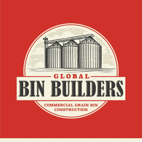 Vintage industrial logo for Global Bin Builders.