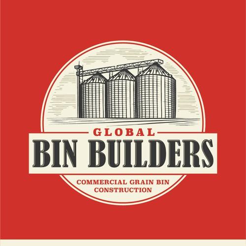 Vintage industrial logo for Global Bin Builders.