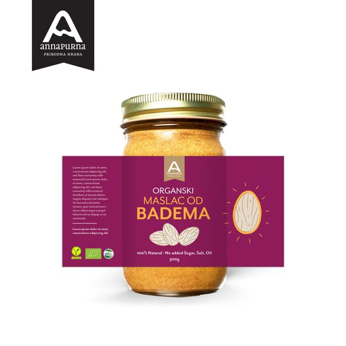 Colourful Almond Butter Label