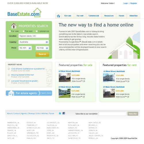 Web 2.0 real estate portal and search engine design