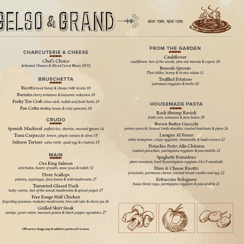 Elegant & modern menu