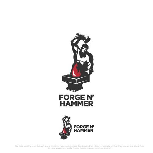 Playful Logo Forge N Hammer