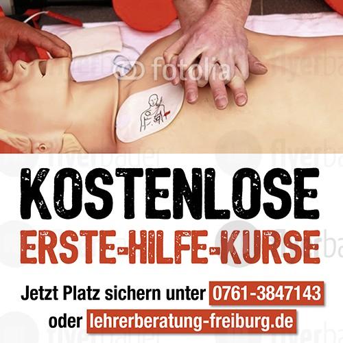 Plakat für kostenlosen Erste-Hilfe-Kurs
