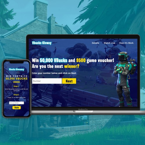 Landing Page design for  fortnite Giveaway