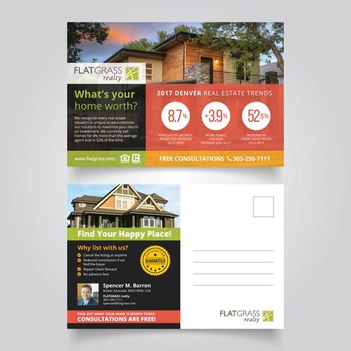 Modern Flat Design for Realty Postcard