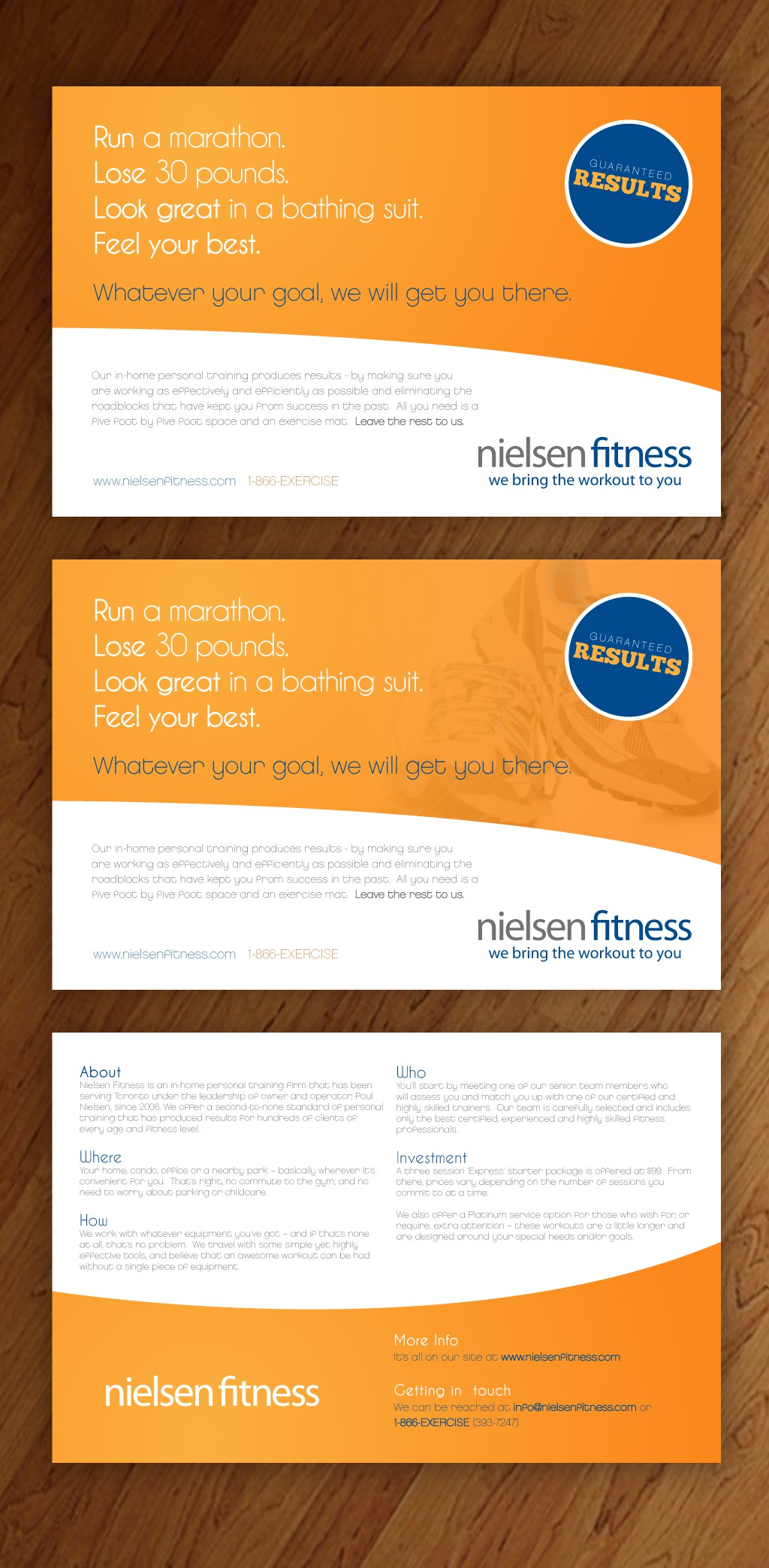 Creative minds!  Create postcard/flyer to attract in-home personal training clients!