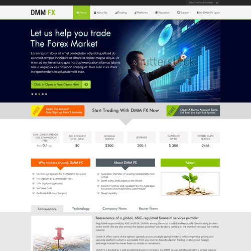 Open, free design, landing page for a Australian forex broker
