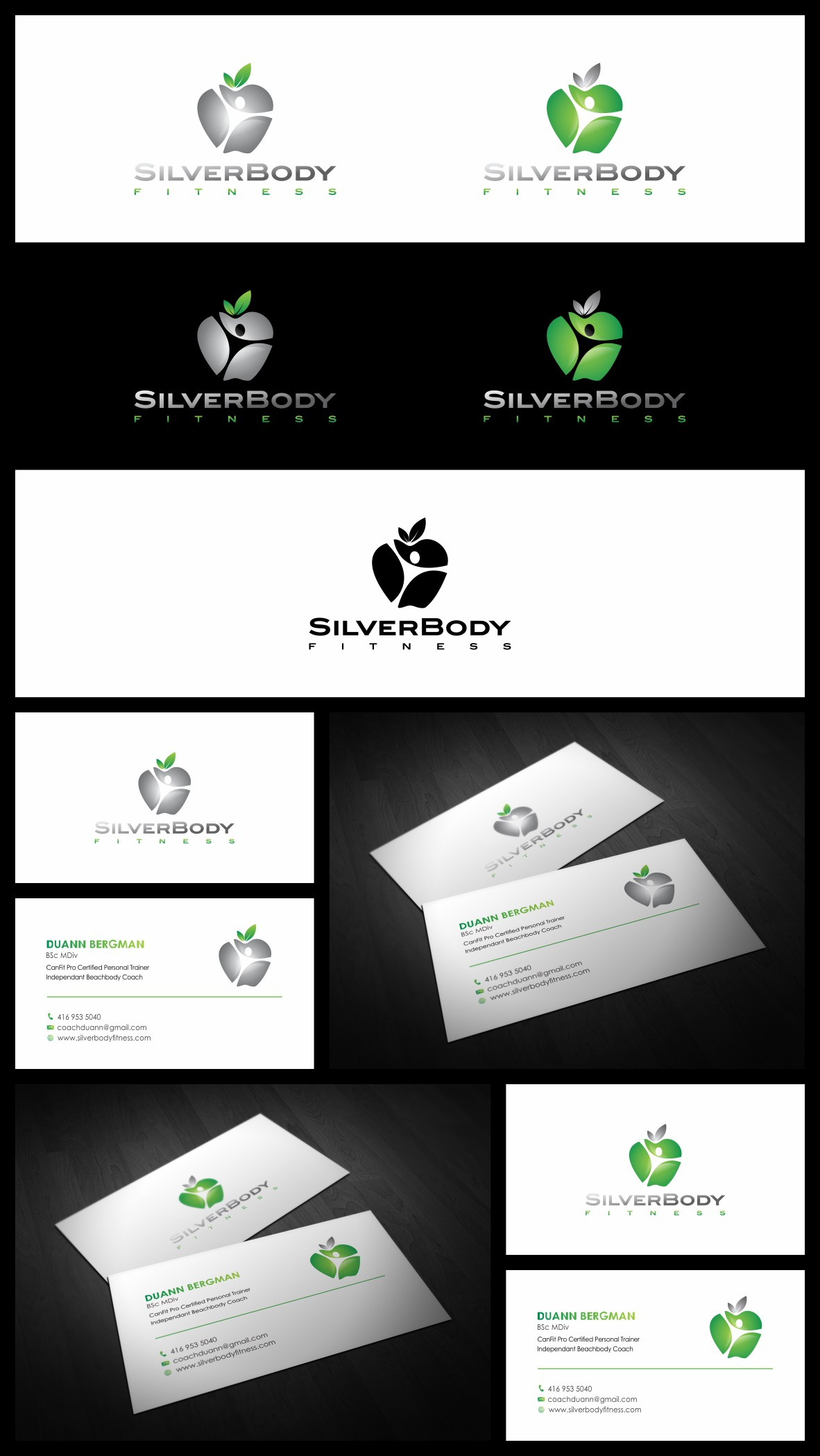Sleek and modern logo and business card wanted for SilverBody Fitness