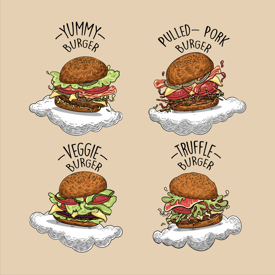 "Set of illustrations of ""Suspended Burgers"""