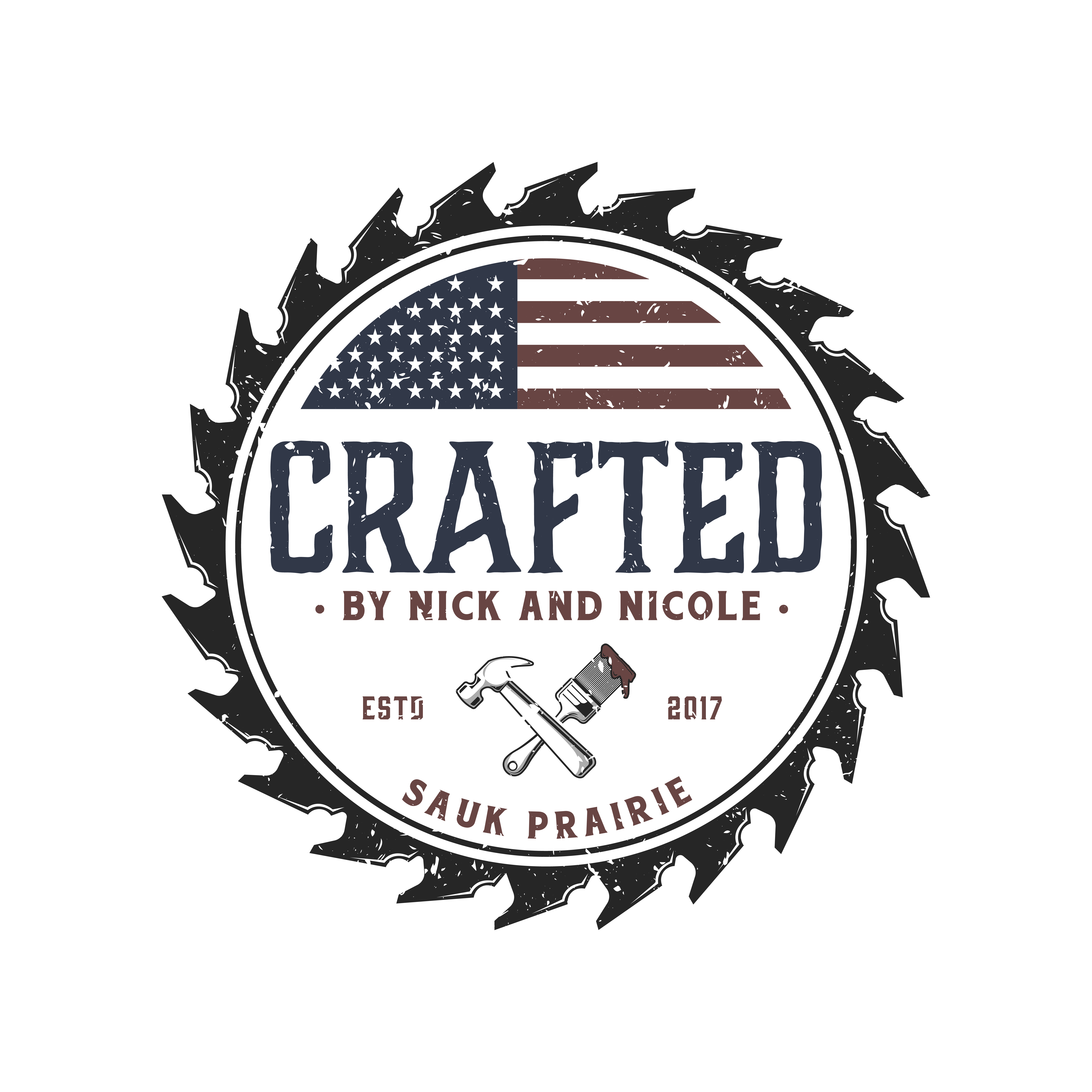 Mix of elegant wording, color, and patriotism for family woodworking business.