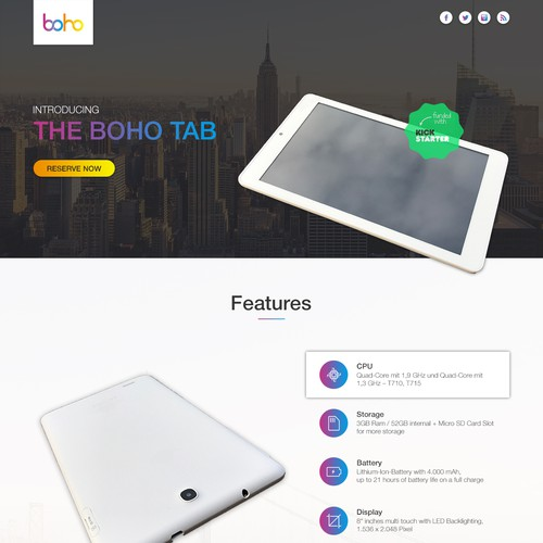Boho - Exciting new Tech startup needs a landing page !
