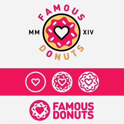 Fun logo design for FAMOUS DONUT