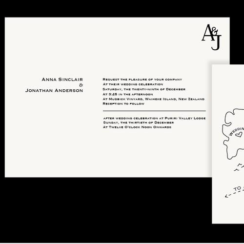 Minimalist Invite With Island Map Sketch