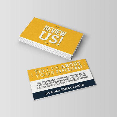 REVIEW ME CARD - Business Card Size To Request a Rating and Review