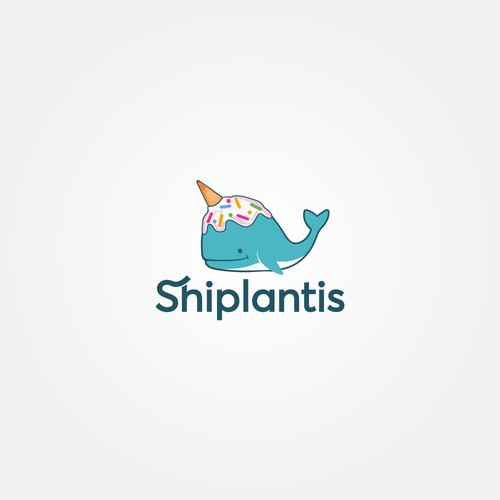 Draw a happy whale with ice cream on its head for my website logo!!