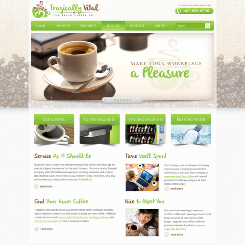 Tragically Vital the Fresh Coffee Co. needs a new website design