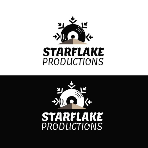 Easy simle logo black and white for music production