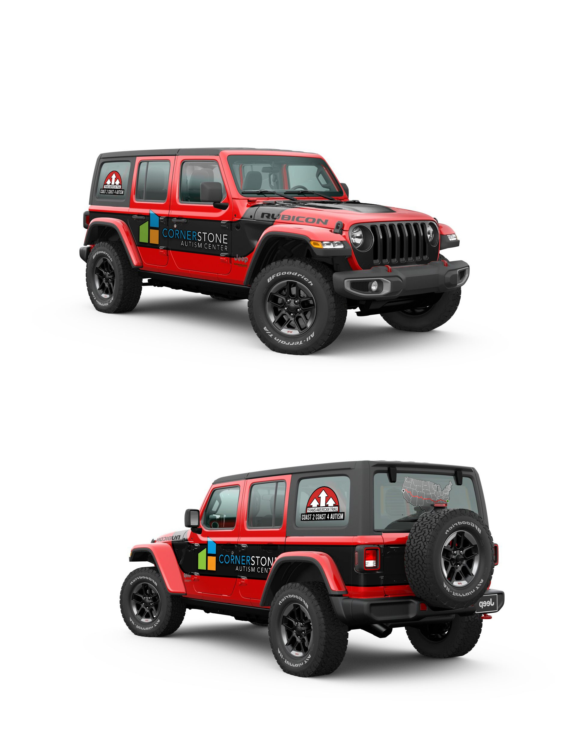 Jeep Wrap for Autism Center Roadtrip across US