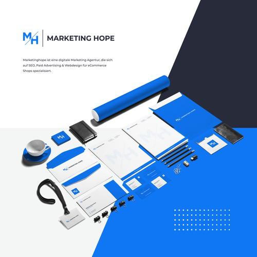 Update Logo Grid System & Corporate Stationary Marketing Hope
