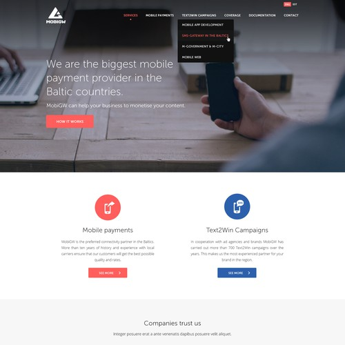 Mobile Payments provider needs an all new website design