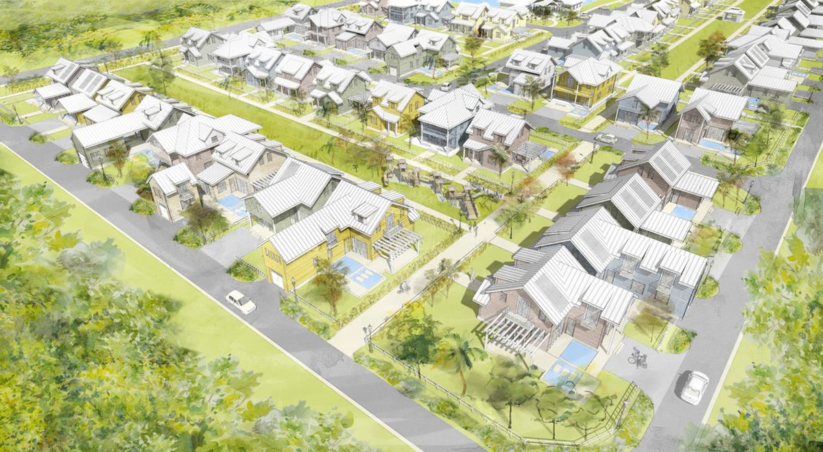 Architectural rendering of a pocket neighborhood community