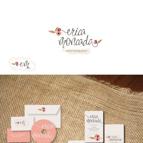 logo and business card for Erica Moncada photographer