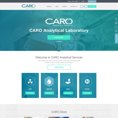 Landing Page Design Concept For CARO Analytical Services
