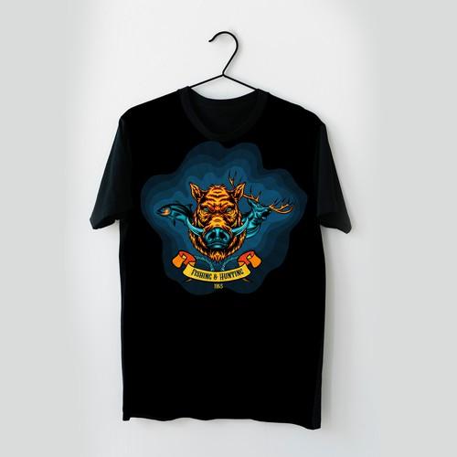 Fishing and Hunting T- Shirt Illustration