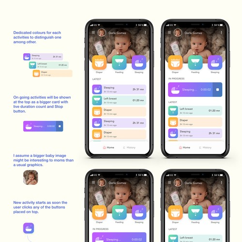 UI design for baby care app