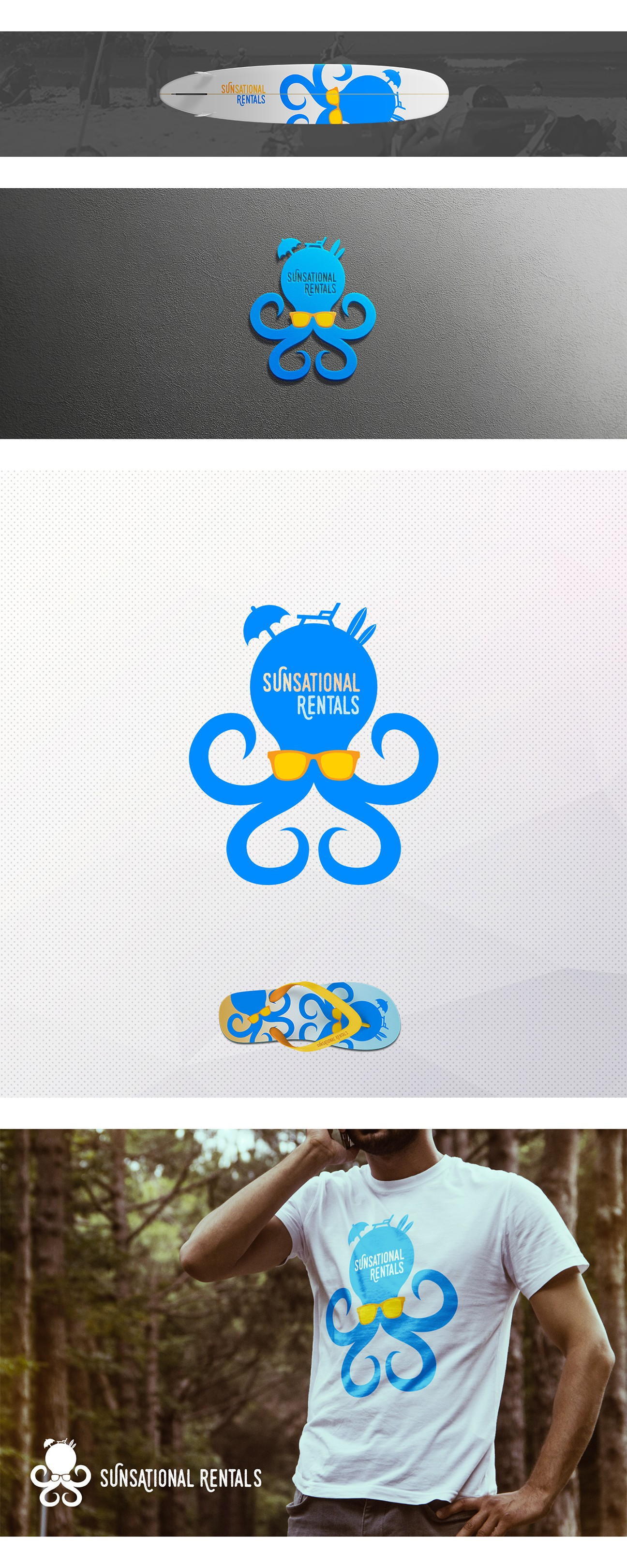 Design a color popping octopus holding a beach umbrella and a boogieboard over my company name