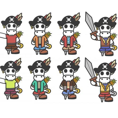 Skull pirate cow, set.