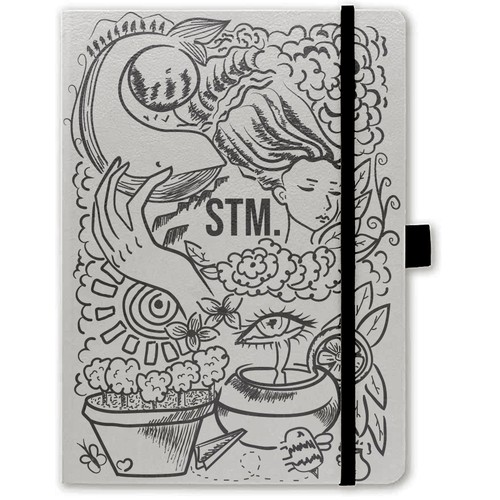 Doodle art illustration of a notebook cover