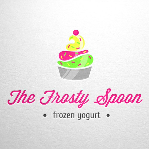 Create a fun Frozen Yogurt illustraction for The Frosty Spoon
